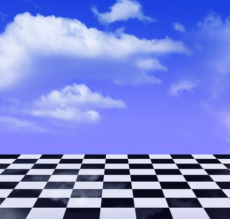expanse: black-and-white pattern and sky Stock Photo
