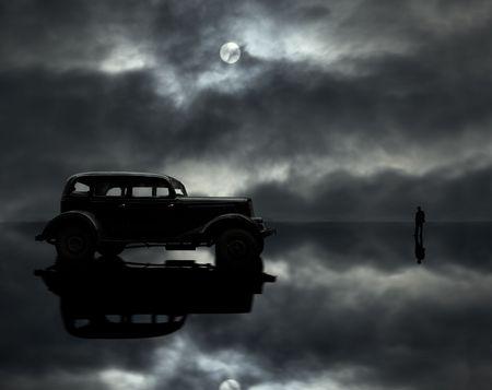 retro car,man and moon