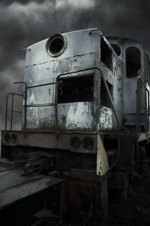 nonworking: old diesel locomotive Stock Photo