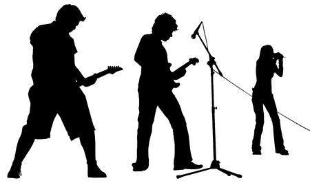 fingering: Silhouette of musicians Stock Photo