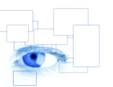 parpados: azul en los ojos de cerca  Foto de archivo