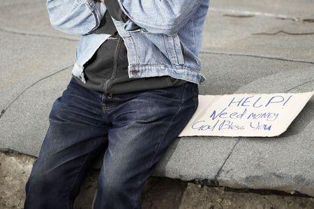 destitution: street hobo Stock Photo