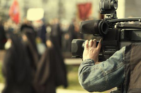 news cameraman Stock Photo