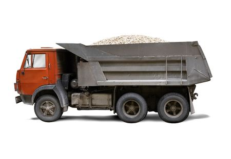 dumptruck: russian grunge truck isolated on the white background