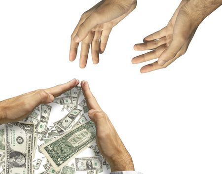 extortion: hands asking the help and hands saving the money(made from my images) Stock Photo