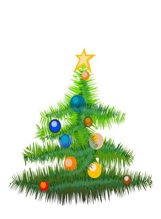 Christmas tree with decorations isolated on the white background(with clipping path) photo