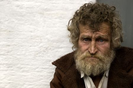homeless man: hobo in close up Stock Photo
