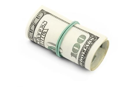 cashing: rolled hundreds dollars,focus on the center of the photo Stock Photo