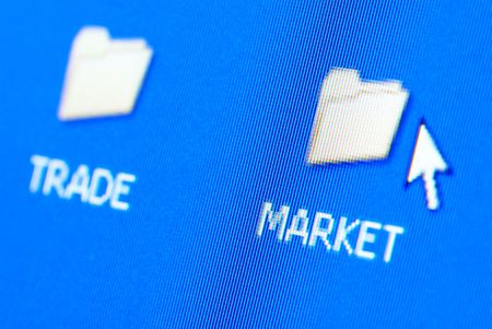 fx: Market and trade folders on the pc screen (special macro photo with glow fx,focus point on the word (market))