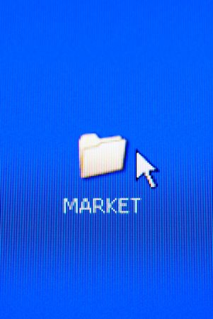 market folder on pc screen (special macro photo ,focus point on the word (market)) Stock Photo - 796999
