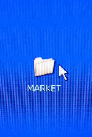 market folder on pc screen (special macro photo ,focus point on the word (market)) Stock Photo - 796999