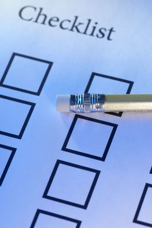 Checklist (special photo f/x,focus point on the pencil) Stock Photo - 797014