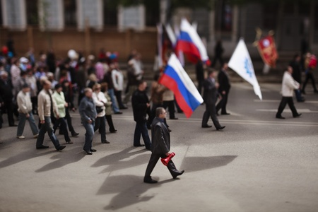 tilt shift: Samara,Russia-May 1, 2012: About 1000 people take a part in the communist demonstration in Samara ,Russia on Mayday, photo made with tilt-shift lens Editorial
