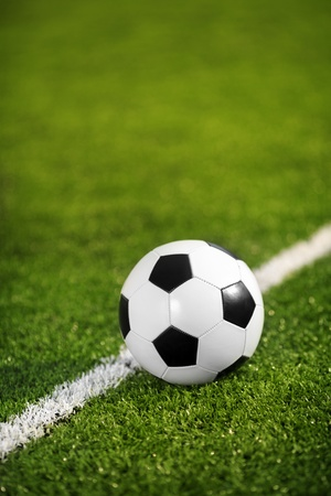 Soccer Ball Resting on Line  Stock Photo - 16399892