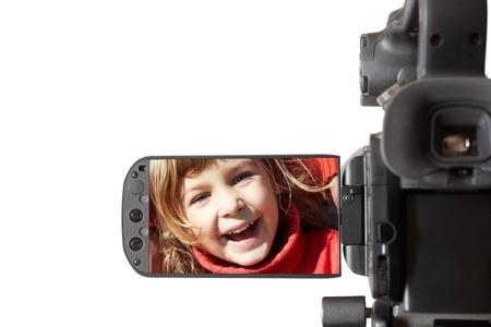high end: videoc�mara de gama alta aislada en el fondo blanco