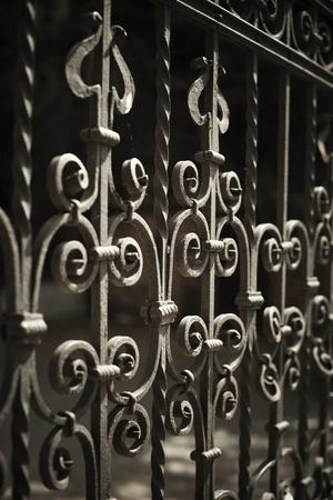 puertas de hierro: concepto urbano con hierro forjado valla detalle foco selectivo en la parte central