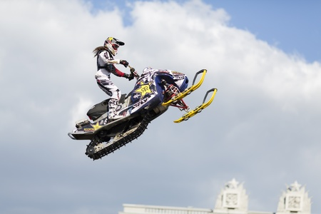 backflip: SAMARA, RUSSIA - JULY 19 : Colten Moore (USA) performs a backflip on a snowmobile  during Adrenalin Rush FMX show July 19,2013 in Samara, Russia