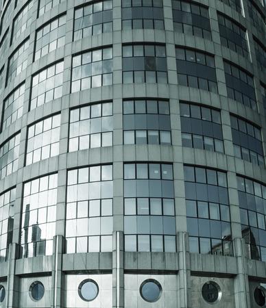 diagonals: modern building, blue toned, selective focus on nearest part Stock Photo