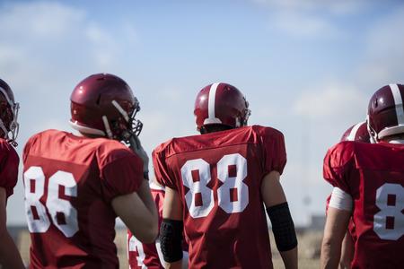 football american: sport team concept, selective focus on  nearest man