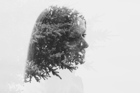 fir  tree: double exposure of female and fir tree