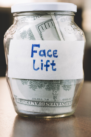 face lift: jar with money for face lift