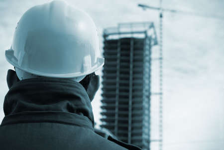 vignetting: builder (special toned photo fx with vignetting, focus on the hard-hat) Stock Photo