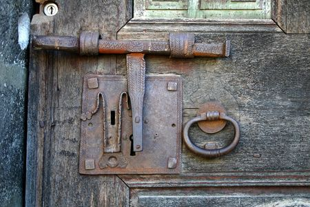 medieval blacksmith: ancient latch in Catalonia,Spain Stock Photo