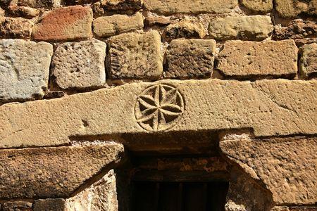 lintel: lintel in rural church,Huesca,Spain