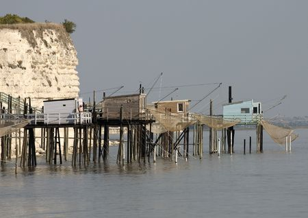 gironde: Fisher cabins in Gironde stuary,France
