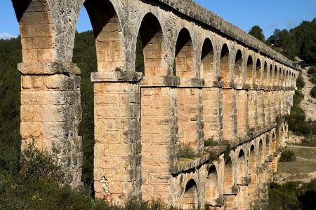 Roman aqueduct in Tarragona , Catalonia ,Spain Stock Photo