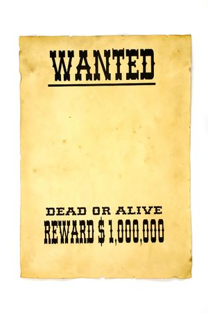 Isolated old wanted poster with a blank space for a photo. Stock Photo