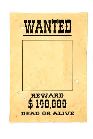 desperado: Isolated old wanted poster with a blank space for a photo. Stock Photo