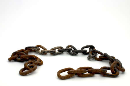 iron oxide: Isolated rusty chain