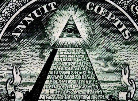 One dollar, truncated pyramid closeup Stock Photo