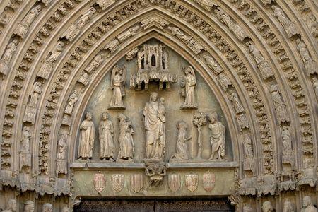 Gothic cathedral facade, Huesca, Aragon, Spain