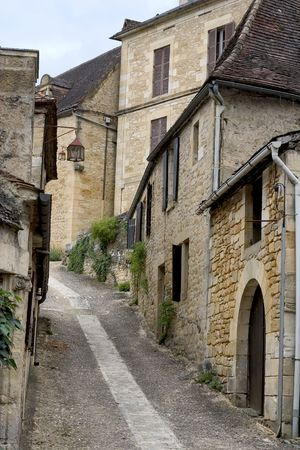 aquitaine: Street in Beynac, Dordogne (Perigord), Aquitaine, France Stock Photo