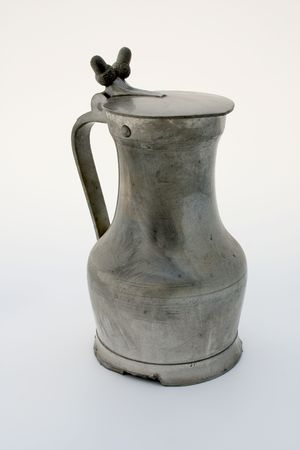 stein: Ancient pewter beer stein, isolated