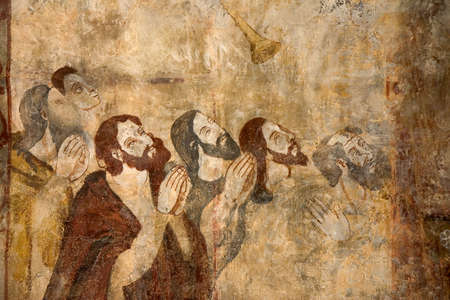 devout: Frescoes in the Collegiate Church of Alquezar, Huesca, Aragon, Spain Stock Photo