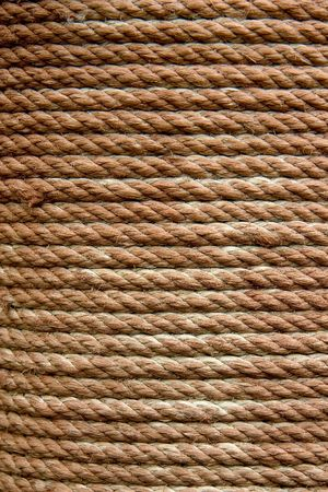 coiled: A close-up of an aged coiled rope Stock Photo
