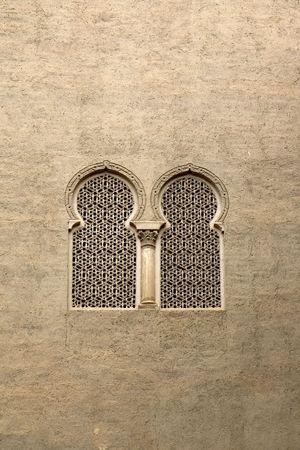Moorish window in La Aljaferia, Zaragoza, Aragon, Spain Stock Photo