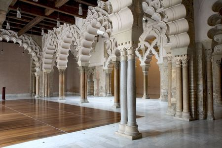 zaragoza: Hall in La Aljaferia, Zaragoza, Aragon, Spain Stock Photo