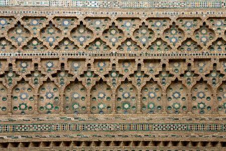 mudejar: Mudejar wall. San Salvador Cathedral  ( la Seo ) in Zaragoza, Aragon, Spain Stock Photo
