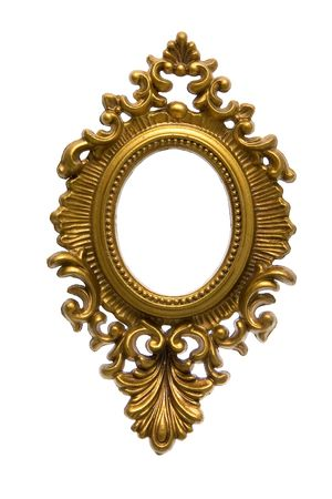 A decorative golden frame isolated on white