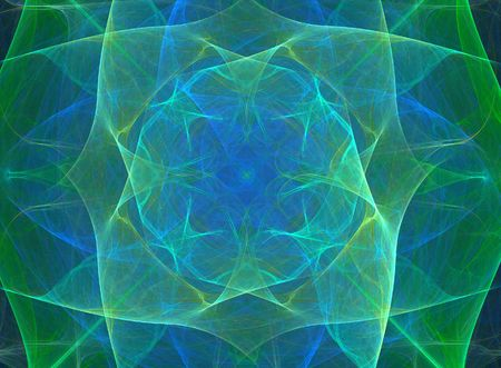 silky: Abstract blue and green silky design;  fractal image Stock Photo
