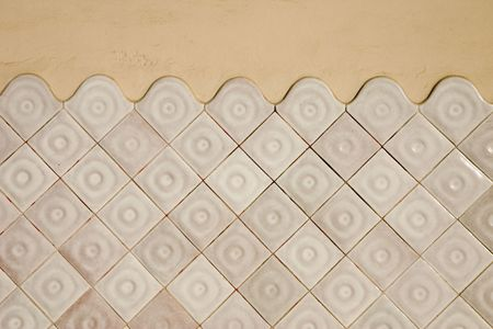 Modernist tile wall in the Masia Freixa, Terrassa, Catalonia, Spain