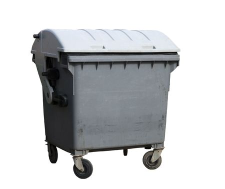 Garbage container. Gray four wheeled trash can isolated