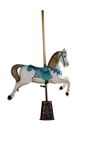 caballo: Un antiguo carrusel caballo aislado en blanco