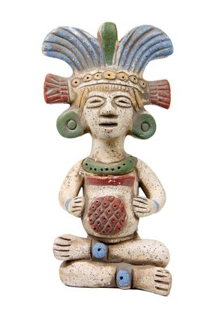 Mayan terracotta isolated on white Stock Photo