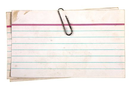 Aged note papers fastened with a clip