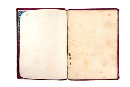 Old notebook with blank pages isolated on white Stock Photo